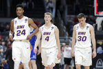 Northern Iowa's Isaiah Brown (24), AJ Green (4) and Spencer Haldeman (30) head off the court following an NCAA college basketball game against Drake in the quarterfinal round of the Missouri Valley Conference men's tournament Friday, March 6, 2020, in St. Louis. Drake upset Northern Iowa 77-56. (AP Photo/Jeff Roberson)