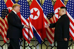 FILE - In this Feb. 27, 2019, file photo, President Donald Trump meets North Korean leader Kim Jong Un in Hanoi. North Korea has test-fired a