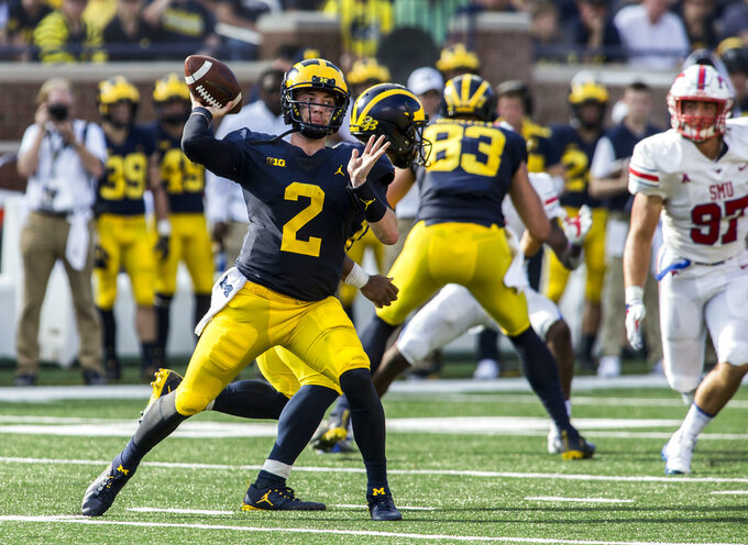 Michigan quarterback Shea Patterson (2) throws a pass in the second quarter of an NCAA college football game against SMU in Ann Arbor, Mich., Saturday, Sept. 15, 2018. (AP Photo/Tony Ding)