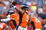 Denver Broncos quarterback Joe Flacco (5) throws against the San Francisco 49ers during an NFL preseason football game, Monday, Aug. 19, 2019, in Denver. (AP Photo/Jack Dempsey)