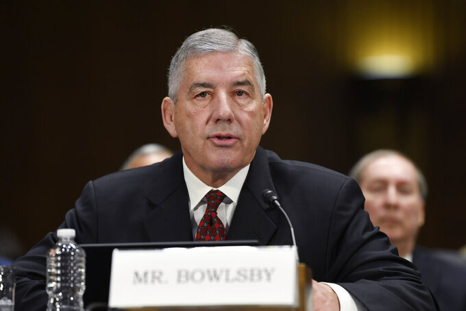Big 12 Conference Commissioner Bob Bowlsby testifies during a Senate Commerce subcommittee hearing on Capitol Hill in Washington, Tuesday, Feb. 11, 2020, on intercollegiate athlete compensation. (AP Photo/Susan Walsh)