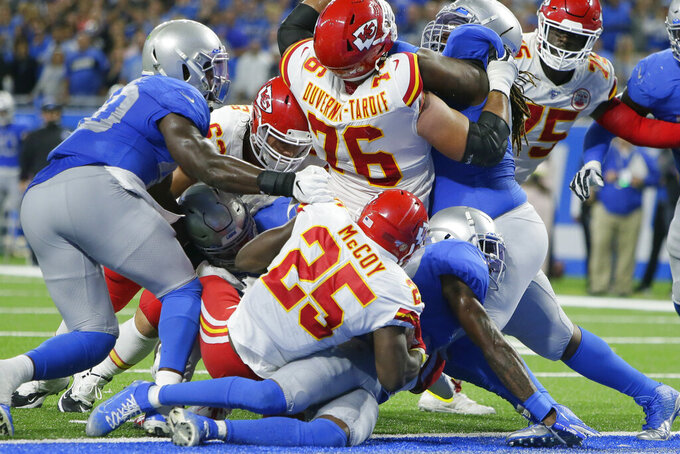 Kansas City Chiefs running back LeSean McCoy (25) rushes for a 1-yard touchdown during the first half of an NFL football game against the Detroit Lions, Sunday, Sept. 29, 2019, in Detroit. (AP Photo/Duane Burleson)