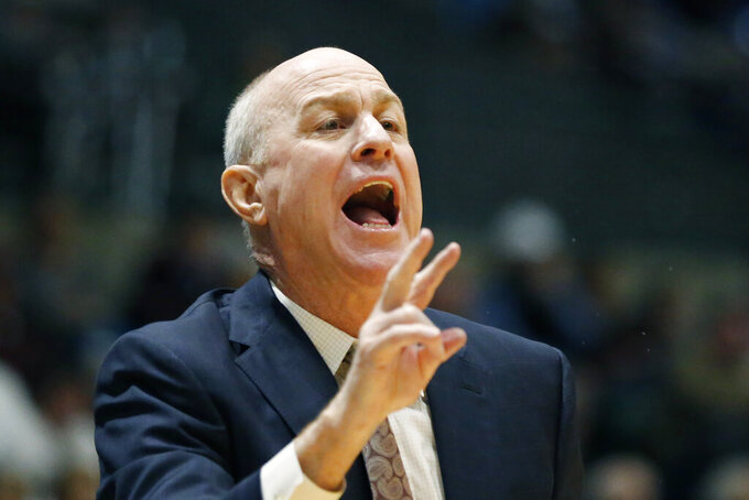 Mississippi State head coach Ben Howland calls to his players during the second half of an NCAA college basketball game against New Mexico State, Sunday, Dec. 22, 2019, in Jackson, Miss. (AP Photo/Rogelio V. Solis)