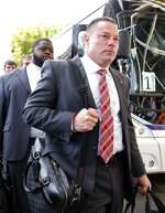 Former Tennessee head football coach Butch Jones  arrives before an NCAA college football game between Alabama and Tennessee Saturday, Oct. 20, 2018, in Knoxville, Tenn. (AP Photo/Wade Payne)