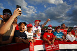 Supporters of President Donald Trump cheer as he speaks during a campaign rally, Monday, May 20, 2019, in Montoursville, Pa. (AP Photo/Evan Vucci)