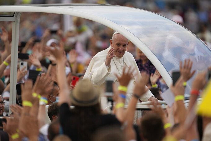 Pope Francis meets with young people atLokomotivaStadium inKošice, Slovakia, Tuesday, Sept. 14, 2021. Francis first trip since undergoing intestinal surgery in July, marks the restart of his globetrotting papacy after a nearly two-year coronavirus hiatus. (AP Photo/Darko Vojinovic)
