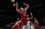 United States' Breanna Stewart (10) battles for a rebound against Nigeria's Oderah Chidom (22) during women's basketball preliminary round game at the 2020 Summer Olympics, Tuesday, July 27, 2021, in Saitama, Japan. (AP Photo/Eric Gay)