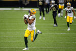 Green Bay Packers wide receiver Allen Lazard (13) pulls in a 72 yard pass completion in the second half of an NFL football game against the New Orleans Saints in New Orleans, Sunday, Sept. 27, 2020. (AP Photo/Butch Dill)