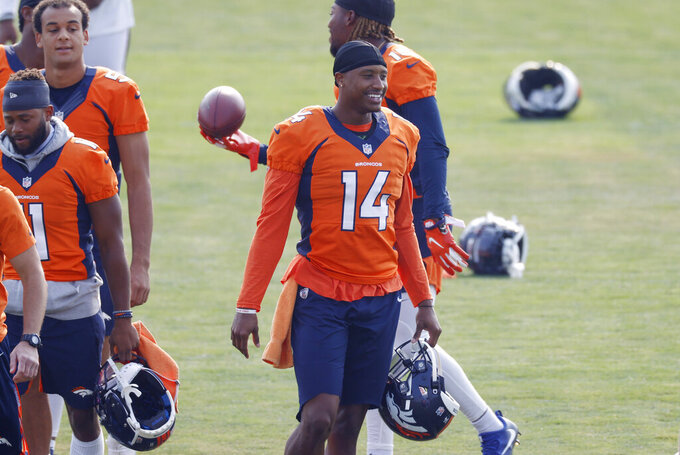 Denver Broncos wide receiver Courtland Sutton takes part in drills during an NFL football practice at the team's headquarters Monday, Aug. 24, 2020, in Englewood, Colo. (AP Photo/David Zalubowski)