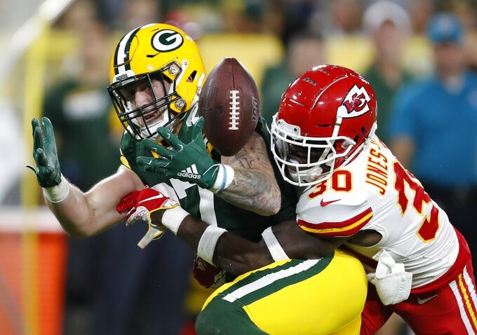 Kansas City Chiefs' Harold Jones-Quartey breaks up a pass intended for Green Bay Packers' Jace Sternberger during the first half of a preseason NFL football game Thursday, Aug. 29, 2019, in Green Bay, Wis. (AP Photo/Matt Ludtke)