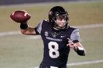 Vanderbilt quarterback Ken Seals passes against LSU in the first half of an NCAA college football game Saturday, Oct. 3, 2020, in Nashville, Tenn. (AP Photo/Mark Humphrey)
