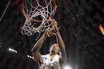 Liberty guard Darius McGhee takes his turn cutting down the net after defeating Lipscomb in the Atlantic Sun Conference NCAA basketball championship game in Lynchburg, Va., Sunday, March 8, 2020. (AP Photo/Lee Luther Jr.)