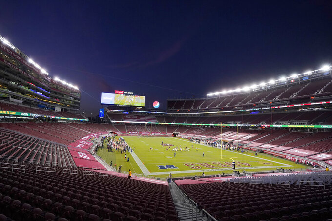 Empty seats at Levi's Stadium are shown during the first half of an NFL football game between the San Francisco 49ers and the Green Bay Packers in Santa Clara, Calif., Thursday, Nov. 5, 2020. (AP Photo/Jeff Chiu)
