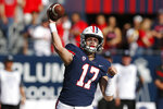 Arizona quarterback Grant Gunnell (17) throws the ball down field against Oregon State in the first half during an NCAA college football game, Saturday, Nov. 2, 2019, in Tucson, Ariz. (AP Photo/Rick Scuteri)