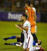 United States's Cristian Roldan reacts during a qualifying soccer match against El Salvador for the FIFA World Cup Qatar 2022 at Cuscatlan stadium in San Salvador, El Salvador, Thursday, Sept. 2, 2021. (AP Photo/Moises Castillo)