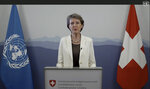 """Simonetta Sommaruga, President of Switzerland, speaks in a pre-recorded video message during the 75th session of the United Nations General Assembly, Wednesday, Sept. 23, 2020, at UN headquarters in New York, in this UNTV file image. The coronavirus that has claimed nearly 1 million lives has underscored the failure of the United Nations to bring countries together to defeat it. """"We could criticize the U.N. for this — but who are we really talking about, when we blame `the U.N.?'"""" Switzerland President Simonetta Sommaruga asked. """"We are in fact talking about ourselves, because the U.N. is its member states. And it is often member states that stand in the way of the U.N.'s work."""" (UNTV via AP, File)"""