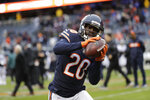 FILE - In this Jan. 6, 2019, file photo, Chicago Bears cornerback Prince Amukamara (20) warms up before an NFL wild-card playoff football game against the Philadelphia Eagles in Chicago. Few defenses lead the NFL in interceptions for consecutive years, but cornerback Prince Amukamara and other members of the Bears' secondary think they are primed to make a run at doing it after 27 last time out. (AP Photo/Nam Y. Huh, File)