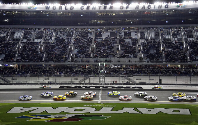 Alex Bowman (88) leads the field during start of the second NASCAR Daytona 500 qualifying auto race Thursday, Feb. 14, 2019, at Daytona International Speedway in Daytona Beach, Fla. (AP Photo/Chris O'Meara)
