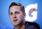 Los Angeles Rams' Jared Goff answers a question during Opening Night for the NFL Super Bowl 53 football game Monday, Jan. 28, 2019, in Atlanta. (AP Photo/Matt Rourke)