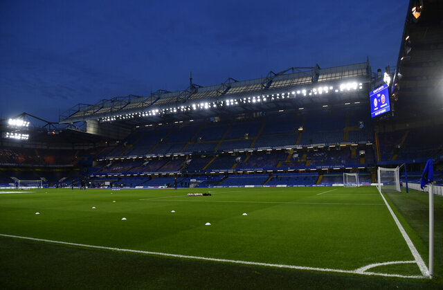 A general view of the Stamford Bridge Stadium ahead of the English Premier League soccer match between Chelsea and Sheffield United in London, Saturday, Nov. 7, 2020. (Mike Hewitt/Pool via AP)