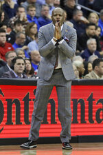 St. John's head coach Mike Anderson reacts during the second half of an NCAA college basketball game against Seton Hall in Newark, N.J., Sunday, Feb. 23, 2020. Seton Hall defeated St. John's 81-65. (AP Photo/Seth Wenig)