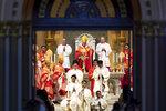 Pope Francis celebrates Mass at the Assumption Cathedral, Friday, Nov. 22, 2019, in Bangkok, Thailand. (AP Photo/Wason Wanichakorn)