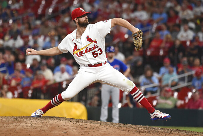 St. Louis Cardinals relief pitcher John Gant throws during the ninth inning of a baseball game against the Chicago Cubs, Monday, July 19, 2021, in St. Louis. (AP Photo/Joe Puetz)