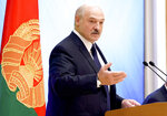 Belarusian President Alexander Lukashenko speaks during a meeting with the country's political activists in Minsk, Belarus, Wednesday, Sept. 16, 2020. (Maxim Guchek/BelTA Pool Photo via AP)