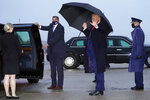 President Donald Trump waves as he steps off Air Force One upon arrival Sunday, Oct. 25, 2020, at Andrews Air Force Base, Md. Trump is returning from New Hampshire and Maine. (AP Photo/Alex Brandon)