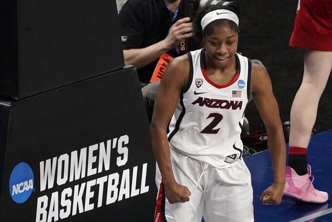 Arizona's Aari McDonald reacts after making a basket during the second half of an NCAA college basketball game against Indiana in the Elite Eight round of the Women's NCAA tournament Monday, March 29, 2021, at the Alamodome in San Antonio. (AP Photo/Morry Gash)