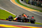 Red Bull driver Max Verstappen of the Netherlands steers his car during the second practice session prior to the Formula One Grand Prix at the Spa-Francorchamps racetrack in Spa, Belgium, Friday, Aug. 27, 2021. The Belgian Formula One Grand Prix will take place on Sunday. (AP Photo/Francisco Seco)