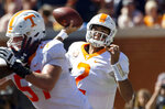FILE - In this Saturday, Oct. 13, 2018, file photo, Tennessee quarterback Jarrett Guarantano (2) throws long during the first half of an NCAA college football game against Auburn in Auburn, Ala. Tennessee,  coming off a 30-24 victory at Auburn that knocked the Tigers out of the Top 25, host No. 1 Alabama on Saturday. (AP Photo/Vasha Hunt, File)