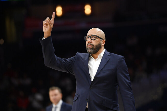 FILE - In this Oct. 7, 2019, file photo, New York Knicks coach David Fizdale gestures during the first half of the team's NBA preseason basketball game against the Washington Wizards in Washington. Former Knicks coach Fizdale has joined his hometown Los Angeles Lakers as the lead assistant coach on Frank Vogel's staff. The Lakers also hired John Lucas III as an assistant coach and named Roger Sancho their head athletic trainer Wednesday, Sept. 15, 2021. (AP Photo/Nick Wass, File)