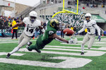 Colorado State wide receiver Warren Jackson (9) misses a pass in the end zone as Utah State cornerbacks Zahodri Jackson (14) and Cameron Haney (6) defend during the second half of an NCAA football game Saturday, Nov. 17, 2018, in Fort Collins, Colo. (AP Photo/Jack Dempsey)
