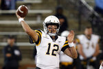 Appalachian State quarterback Zac Thomas (12) throws a pass during the first half of the team's NCAA college football game against Troy on Friday, Nov. 29, 2019, in Troy, Ala. (AP Photo/Butch Dill)