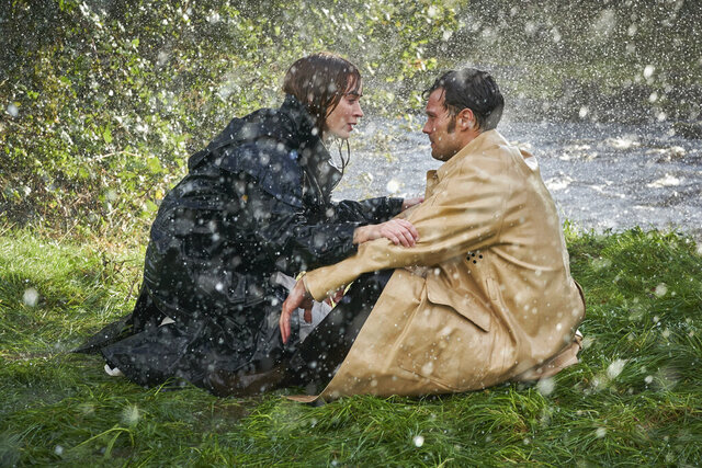This image released by Bleecker Street shows Jamie Dornan, right, and Emily Blunt in a scene from