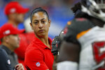 FILE - In this Dec. 15, 2019, file photo, Tampa Bay Buccaneers assistant strength and conditioning coach Maral Javadifar looks on during the second half of an NFL football game Detroit Lions in Detroit. Javadifar thought Katie Sowers making history a year ago as the first female to coach in a Super Bowl meant that topic had been handled once and for all. (AP Photo/Paul Sancya, File)