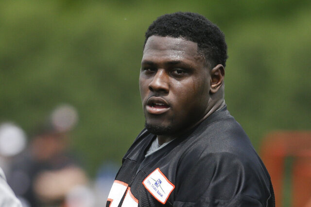 FILE - In this May 31, 2016, file photo, Cincinnati Bengals defensive tackle Andrew Billings (75) participates in NFL football practice in Cincinnati. Billings, who signed a one-year free-agent contract with the Cleveland Browns in March after spending three seasons with the Bengals, has opted out of the 2020 season because of coronavirus concerns. (AP Photo/John Minchillo, File)
