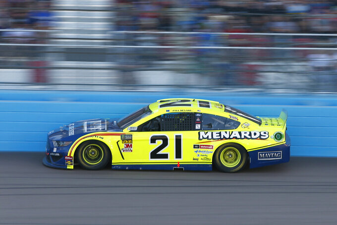 Paul Menard drives during the NASCAR Cup Series auto race at ISM Raceway, Sunday, Nov. 10, 2019, in Avondale, Ariz. (AP Photo/Ralph Freso)