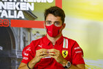 Ferrari driver Charles Leclerc of Monaco attends a press conference ahead of Sunday's Italian Formula One Grand Prix, at the Monza racetrack in Monza, Italy, Thursday, Sept. 3 , 2020. (Mark Sutton, Pool via AP)