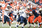 Akron quarterback Kato Nelson (1) throws the ball in the first half of an NCAA college football game against Illinois, Saturday, Aug. 31, 2019, in Champaign, Ill. (AP Photo/Holly Hart)
