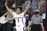 South Carolina guard Zia Cooke (1) celebrates a 3-pointer during the second half of an NCAA college basketball game against Kentucky Sunday, Feb. 21, 2021, in Columbia, S.C.  (AP Photo/Sean Rayford)