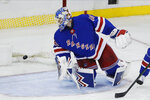 New York Rangers goaltender Alexandar Georgiev (40) watches a puck shot by New York Islanders' Brock Nelson for a goal during the third period of an NHL hockey game Tuesday, Jan. 21, 2020, in New York. The Islanders won 4-2. (AP Photo/Frank Franklin II)