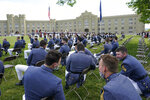 Virginia Military Institute class of 2021 watch during a change of command parade and ceremony on the parade grounds at the school in Lexington, Va., Friday, May 14, 2021. Kasey Meredith was installed as the first female to lead the Virginia Military Institute's Corps of Cadets in its 182 year history. (AP Photo/Steve Helber)