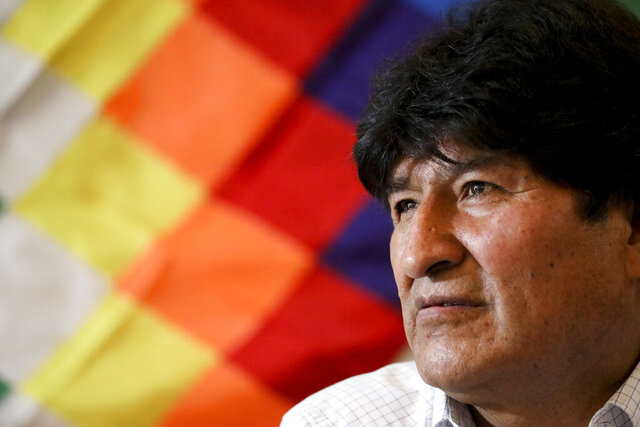 Bolivia's former President Evo Morales attends a meeting with members of his political party, the Movement Towards Socialism Party (MAS), in Buenos Aires, Argentina, Monday, Feb. 17, 2020. Bolivia will hold elections on May 3. (AP Photo/Natacha Pisarenko)
