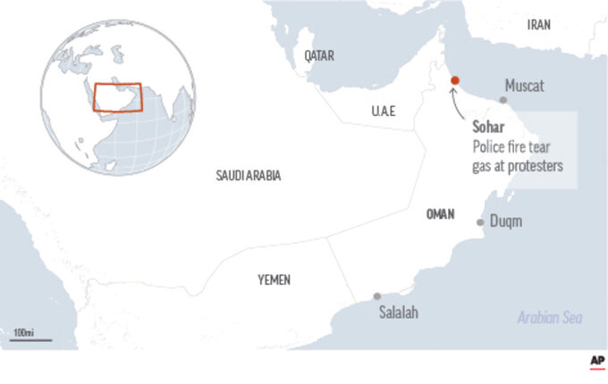 Map locates protests.  Scattered protests in Oman over layoffs and poor economic conditions have drawn a massive police presence in at least one city in the sultanate.