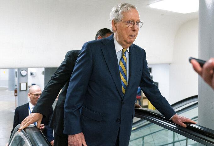 Senate Majority Leader Mitch McConnell of Ky., walks from the Senate subway on Capitol Hill, Tuesday, June 8, 2021, in Washington. (AP Photo/Manuel Balce Ceneta)