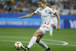 England's Ellen White scores the opening goal during the Women's World Cup Group D soccer match between Japan and England at the Stade de Nice in Nice, France, Wednesday, June 19, 2019. (AP Photo/Claude Paris)