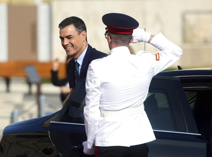 Spain Prime Minister Pedro Sanchez arrives for the Mediterranean Summit of Southern EU countries in Valetta, Malta, Friday, June 14, 2019. (AP Photo/Jonathan Borg)