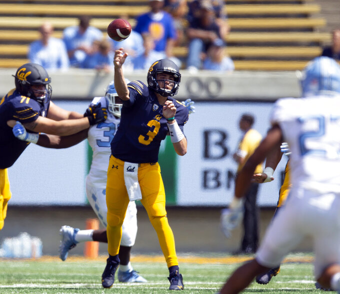 California quarterback Ross Bowers (3) throws a pass during the first half of an NCAA college football game against North Carolina, Saturday, Sept. 1, 2018, in Berkeley, Calif. (AP Photo/D. Ross Cameron)